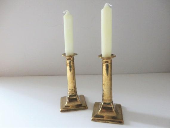 Georgian pair of brass and copper candlesticks