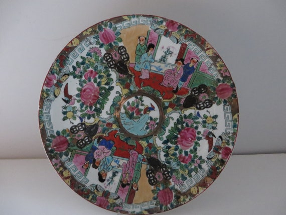 Antique 1800's Cantonese large enamelled plate