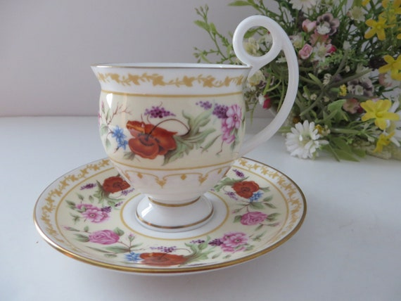 Royal Worcester vintage 1990's Cabinet flowers coffee cup and saucer