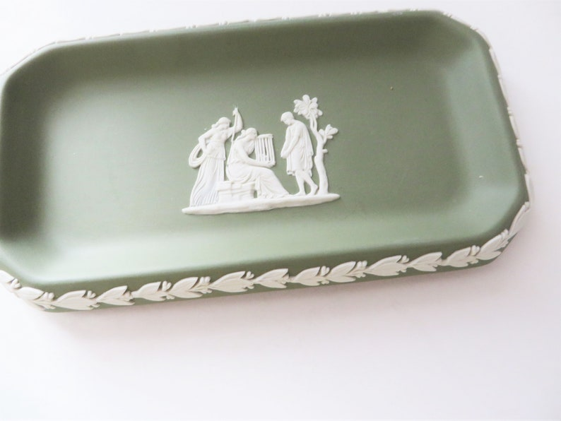 Wedgwood Jasperware vintage 1980/'s sage green dish
