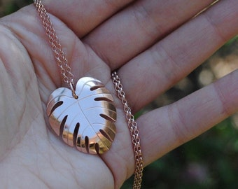 Monstera leaf statement necklace, rose gold vermeil & recycled silver, sample pendant