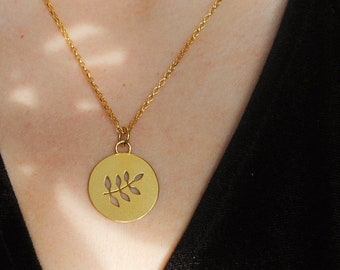 Leaf circle necklace, Gold vermeil & recycled silver, sample piece