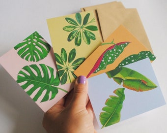 Colourful botanical postcard pack, A7 mini eco-friendly cards & envelopes