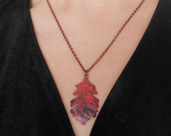 Red Downy oak leaf pendant, recycled copper