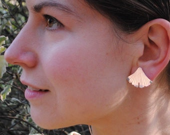 Ginkgo leaf large studs, recycled silver