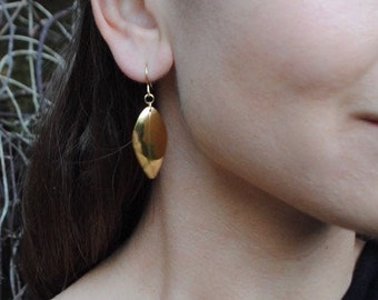 Leaf dangle earrings (sample pair), 18ct Gold vermeil & recycled silver