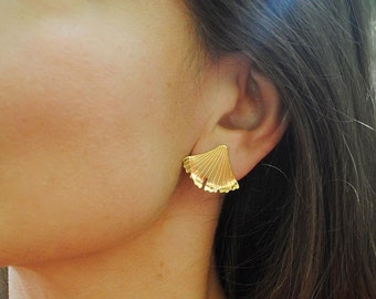 Ginkgo leaf large studs, gold vermeil & recycled silver, sample pair