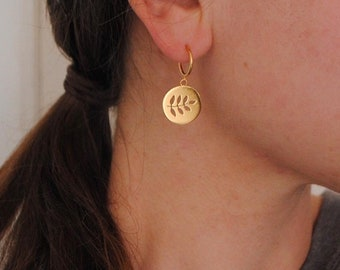 Leaf coin hoops, 24ct gold vermeil & recycled silver, Sample pair
