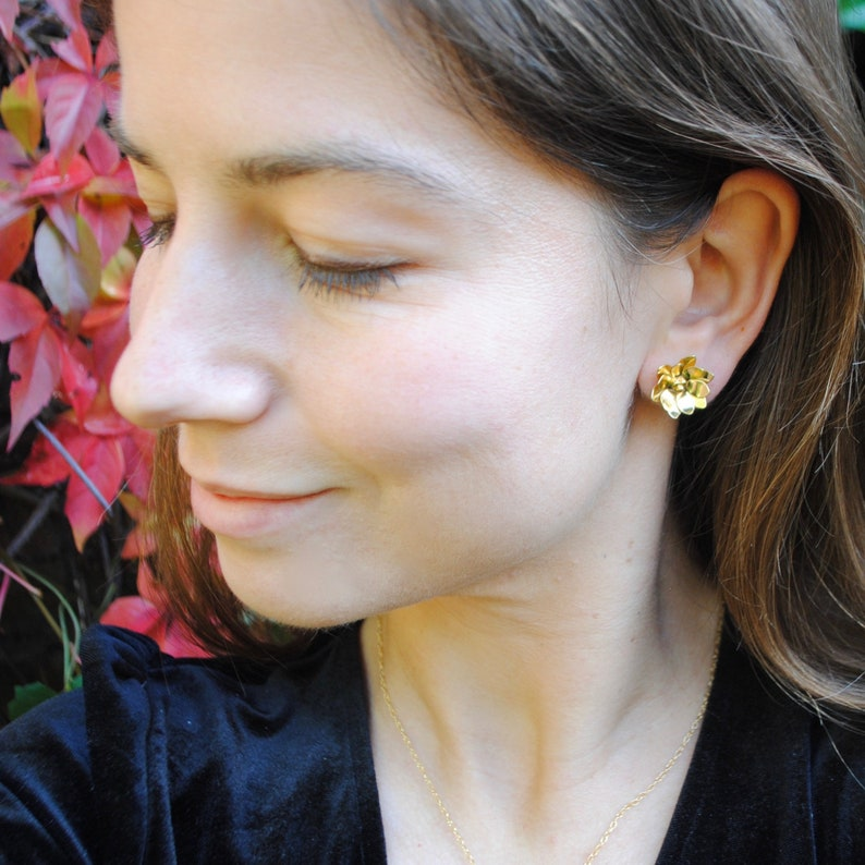 Water Lily earrings Gold vermeil /& recycled silver