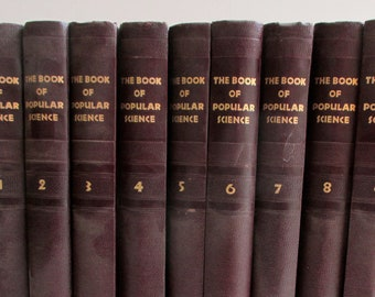 The Book of Popular Science. Set of Reference Books. Illustrated. Midcentury. Rocket Age. Atomic Era. Children's Science Library.