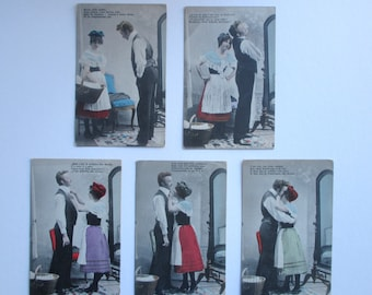 Group of Erotic French Antique Postcards sent between Toronto Canada and Wilmington DE in 1906. Vintage erotica. Old photos / photographs.