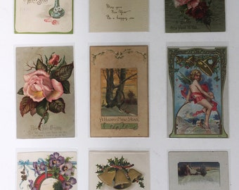 Group of Nine Antique Happy New Year Postcards. Original Vintage Holiday Postcards / Greeting Cards. Scrapbooking / Crafts / Ephemera.