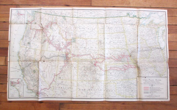 Beautiful Old Antique Map - 1920 Union Pacific Railroad Route Map for on southern pacific rail map, western pacific map map, western pacific products, air pacific route map, western airlines route map 1985, northern pacific route map, pacific railroad map, union pacific route map, western pacific feather river route, norfolk & western route map, north fork southern railroad map, western pacific weather, western pacific airlines, western pacific cars, feather river canyon map, southern pacific route map, missouri pacific route map, chicago railroad map, central pacific route map, california railroad map,