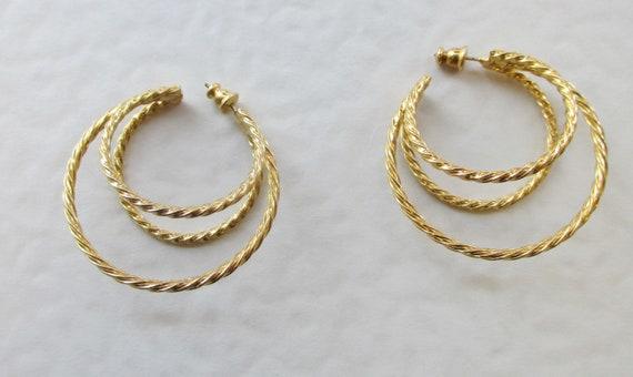 Vintage Gold Twist Hoop Earrings. 1970's.