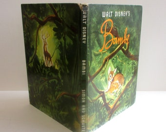 Walt Disney's Bambi - Vintage Hardcover Children's Book in Dust Jacket. Based on the novel by Felix Salten and the Disney Movie Adaptation