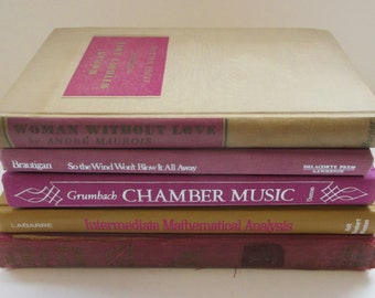 Fuchsia / Bright Purple Instant Library. Collection of Vintage Books for the Adventurous Reader or Clever Stylist.