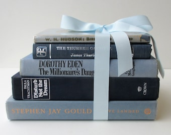 Pretty Blue Books. Decorator's set of vintage hardcover books bound in shades of light and dark blues.