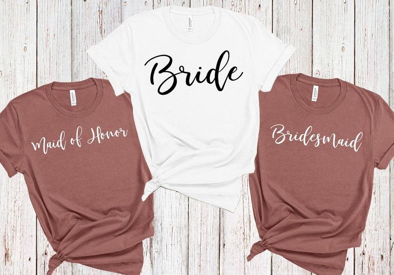 fe71674afa5a Wedding Party Shirts Bride Shirt Bridesmaid Shirt Maid of   Etsy