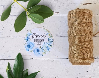 Light Blue Turquoise Flowers Wreath Personalised Baby Boy Shower Favour Tags (24)