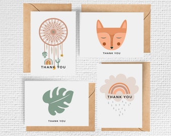 Boho Baby Shower Thank you Cards - Set of 8 Notecards