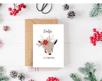 Floral Reindeer Personalised Baby's First Christmas Card