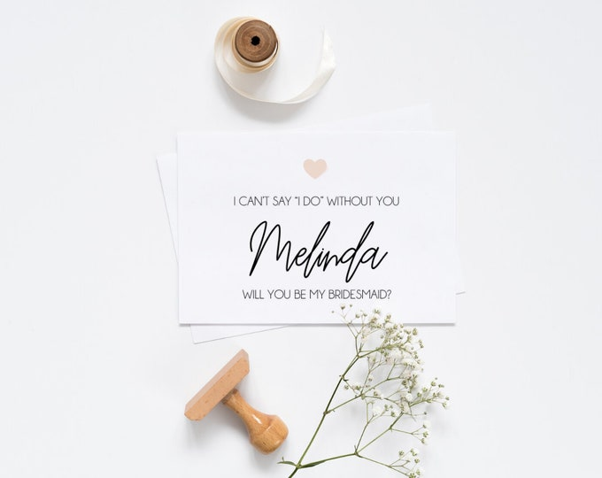 """Featured listing image: Personalised I can't say """"I do"""" without you card"""