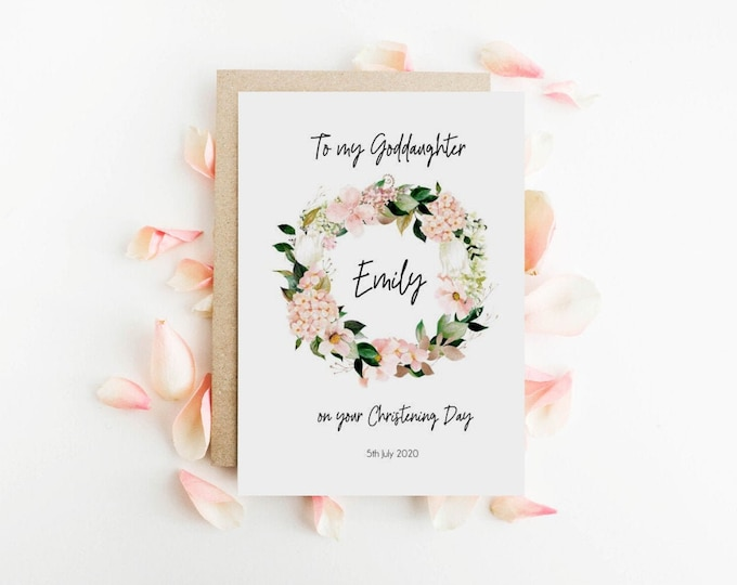 Personalised Spring Floral Wreath Goddaughter Christening Day card