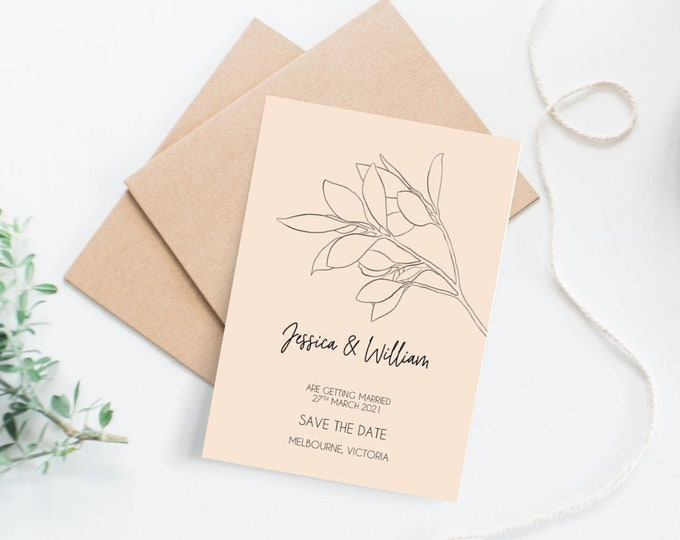 Featured listing image: Modern Minimal Botanical Save The Date Cards (60)