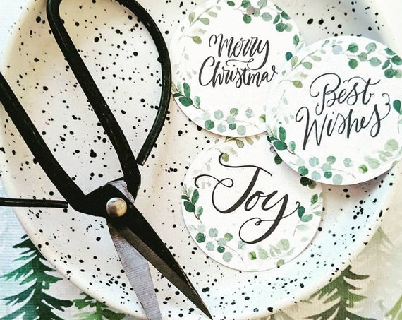 Eucalyptus Wreath Merry Christmas Gift Tags