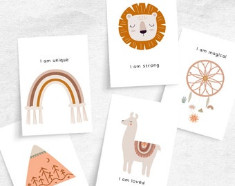Affirmation Cards for Babies and Young Children | Boho Baby Nursery Affirmation Cards | Daily Positive Thought Cards