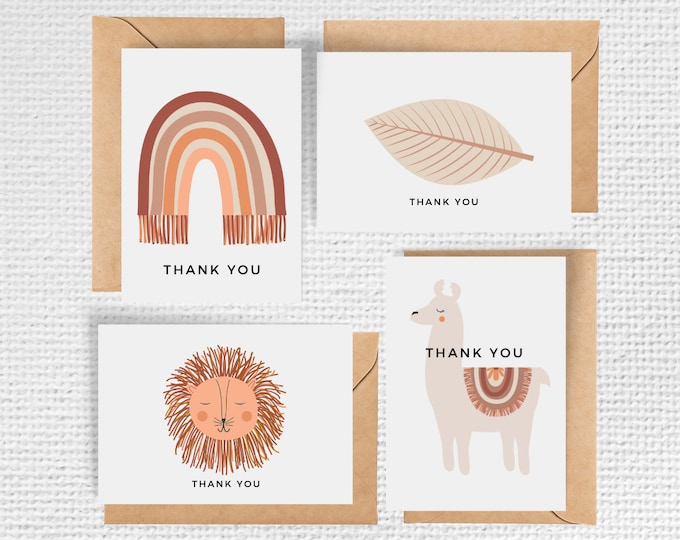 Featured listing image: Boho Baby Set of 8 Thank you Notecards