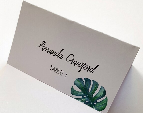 Monstera leaf Wedding Place Cards x 75 / Watercolour Monstera Leaf Name Cards / Tropical Leaves