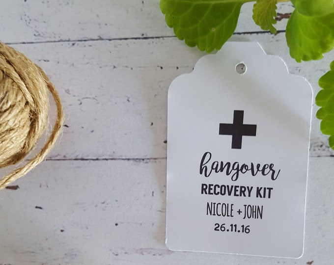 Personalised Hangover Recovery Kit Tags | Wedding Favour tags x 30