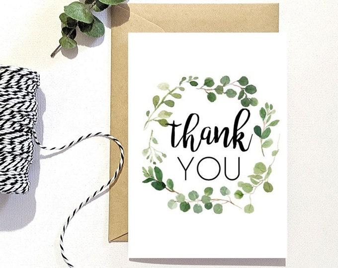 Eucalyptus Leaf Wreath Thank you Card