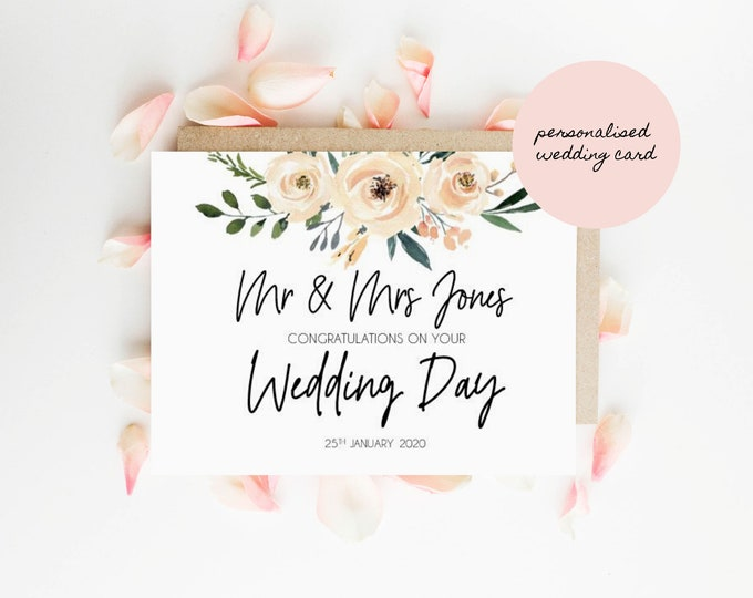 Personalised Floral Mr & Mrs Congratulations on your Wedding Day Card