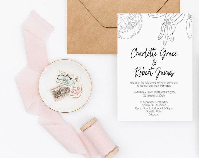 Sample Botanical Wedding Invitation