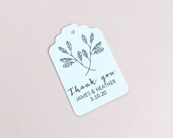Botanical Leaves Wedding Thank you Favour Tags (50)