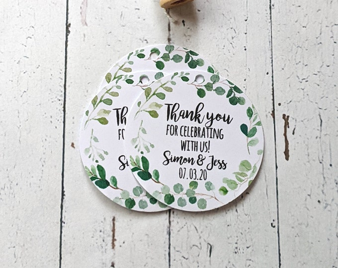 Eucalyptus Leaf Wreath Thank you for celebrating with us Wedding Favour Tags (24)