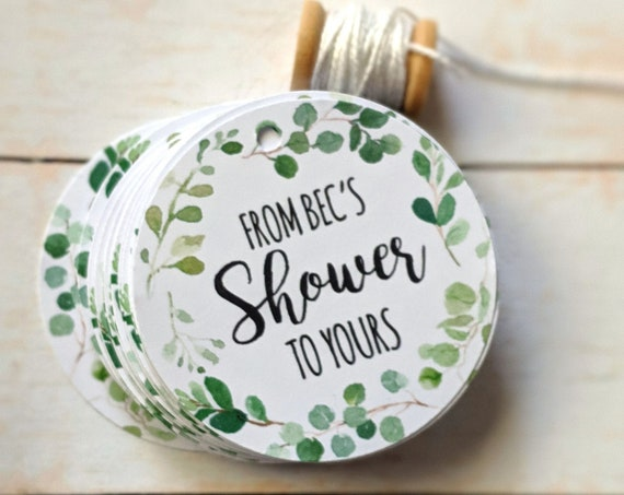 Eucalyptus Leaf Wreath From my shower to yours Baby Shower Favour Tags