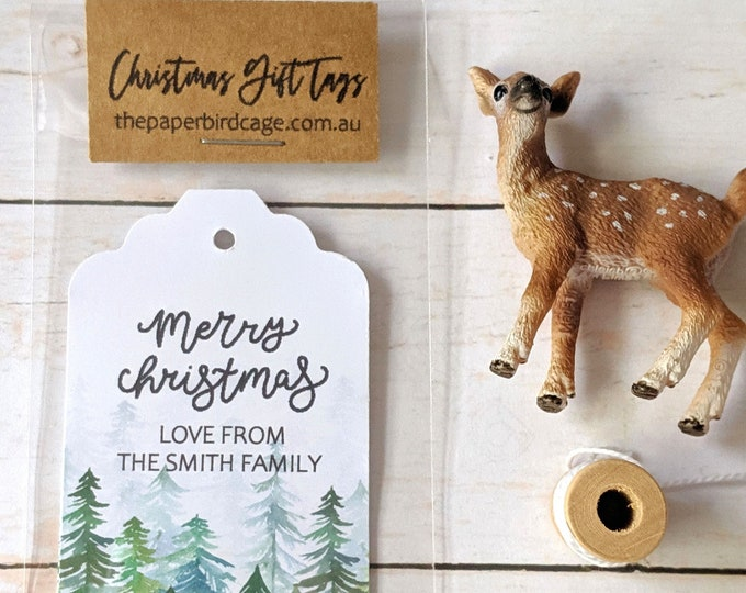 Personalised Woodland Rustic Pine Trees Christmas Gift Tags