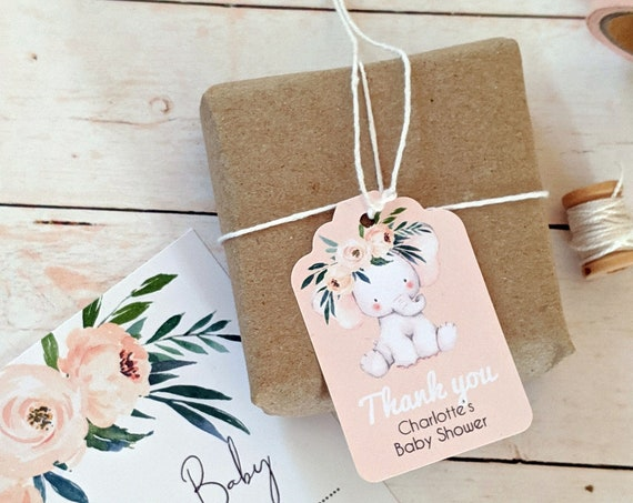 Personalised Baby Elephant Thank you Baby Shower Favour Tags
