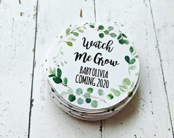 Eucalyptus Leaf Wreath Watch Me Grow Baby Shower Favour Tags (24)