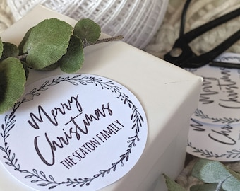 Personalised Modern Merry Christmas Wreath Gift Tags