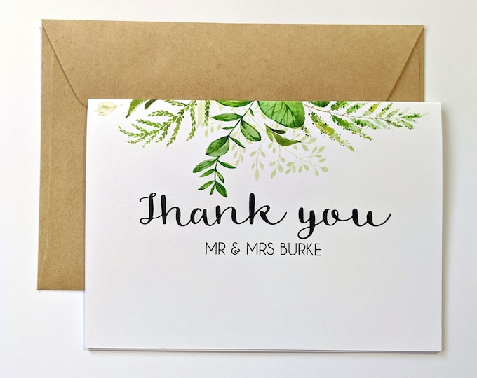 Personalised Botanical Greenery Leaves Wedding Thank you Cards (50)