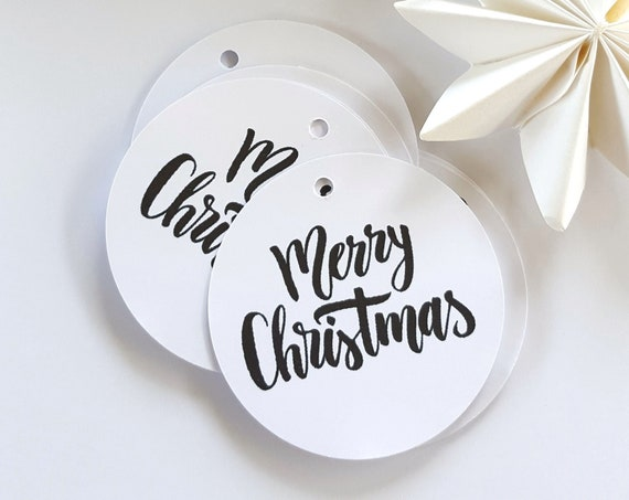 Modern Monochrome Merry Christmas Gift Tags
