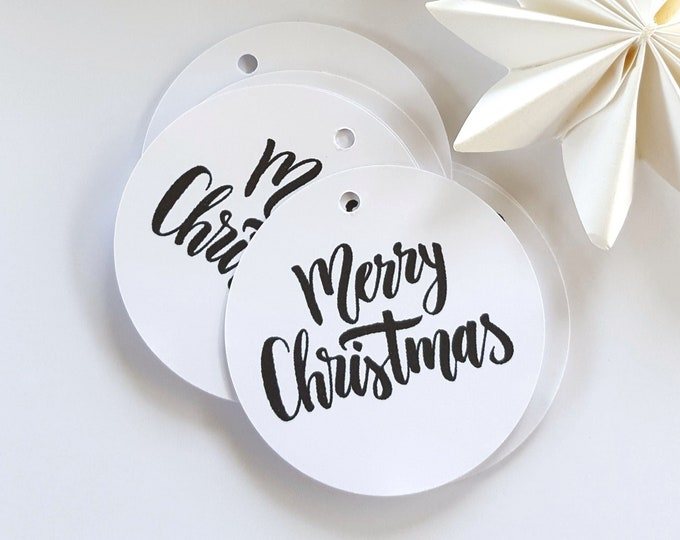 Modern Monochrome Merry Christmas Gift Tags (20)