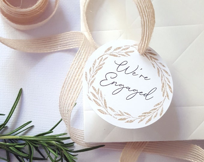 Gold Wreath We're Engaged Party Favour Tags