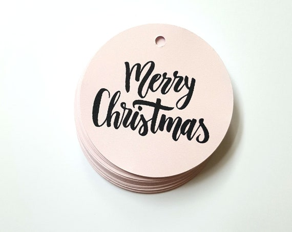 Blush Pink Modern Merry Christmas Gift Tags (20)