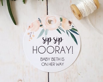 Boho Floral Sip Sip Hooray Baby Shower Favour Tags (24)