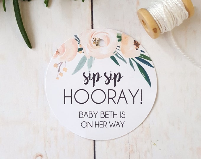 Boho Floral Sip Sip Hooray Baby Shower Favour Tags (40)